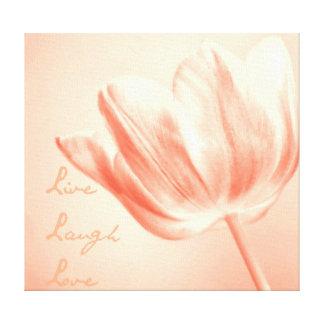 Pfirsich-Tulpe Live, Lachen, Liebe Leinwand Druck
