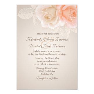 Pfirsich-und Creme-Rosen, die Einladung 2 Wedding