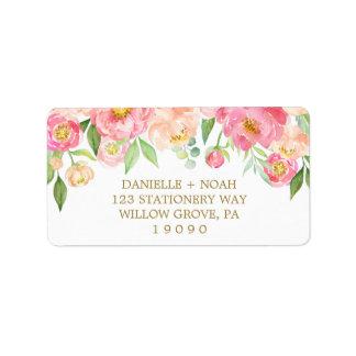 Pfirsich und rosa Pfingstrosen-Blumen, die Wedding Adressaufkleber
