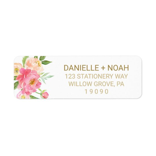 Pfirsich und rosa Pfingstrosen-Blumen, die Wedding Rücksendeetiketten