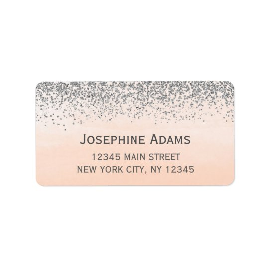 Pfirsich-und Silber-Adressen-Etiketten Adressaufkleber
