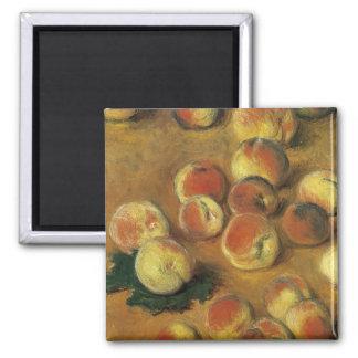Pfirsiche durch Claude Monet Quadratischer Magnet