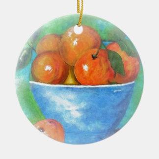 Pfirsiche in einer blauen Schüssel-Vignette Rundes Keramik Ornament
