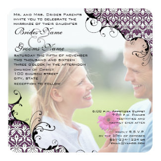 Pflaume Ihre Foto-Hochzeit laden mich heiraten Quadratische 13,3 Cm Einladungskarte