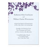 Pflaume und taubenblaue Hochzeits-Einladungen