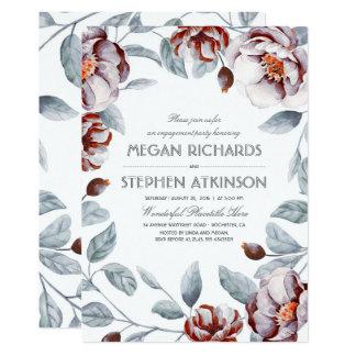 Pflaumelila Blumenwatercolor-Verlobungs-Party 12,7 X 17,8 Cm Einladungskarte