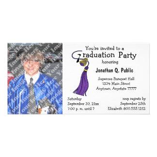 Pflaumen-Abschluss-Party-Foto-Einladung Photo Karten Vorlage
