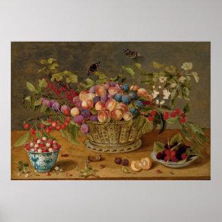 Pflaumen, Aprikosen, Kirschen und Korinthen in Poster