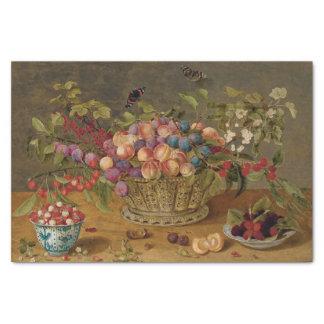 Pflaumen, Aprikosen, Kirschen und Korinthen in Seidenpapier
