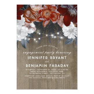 Pflaumen-Blumenlicht-rustikales Verlobungs-Party Karte
