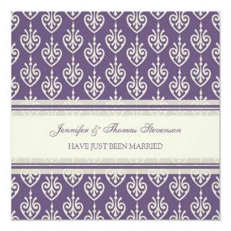 Pflaumen-Creme-gerade verheiratete Quadratische 13,3 Cm Einladungskarte