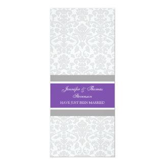 Pflaumen-graue Damast-gerade verheiratete 10,2 X 23,5 Cm Einladungskarte