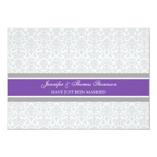 Pflaumen-graue Damast-gerade verheiratete 12,7 X 17,8 Cm Einladungskarte