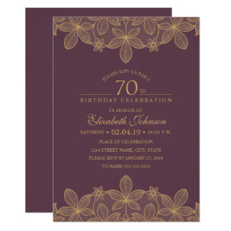 Pflaumen-lila 70. Geburtstags-Party-einzigartige Karte