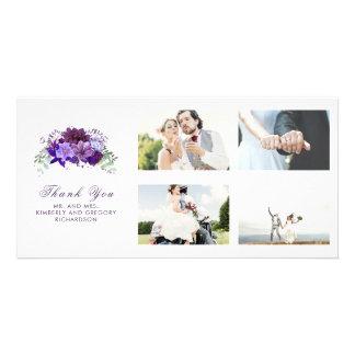 Pflaumen-lila Blumenhochzeit danken Ihnen Karte