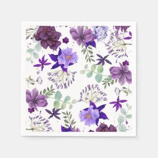 Pflaumen-lila und violette Blumen-elegante Feier Serviette