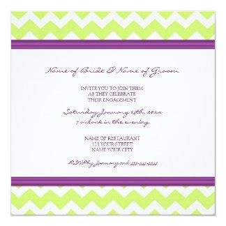 Pflaumen-Limone Zickzack Verlobungs-Party Quadratische 13,3 Cm Einladungskarte
