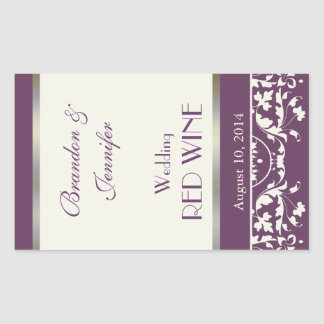 Pflaumen-und Creme-Damast-Hochzeits-Wein-Aufkleber Rechteckiger Aufkleber