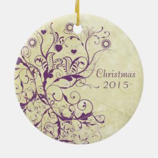 Pflaumen-Vogel-Wirbels-Weihnachten verbindet Rundes Keramik Ornament