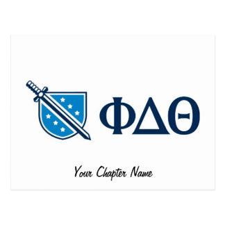 Phi-Deltatheta - blauer Grieche Lettters und Logo Postkarte