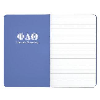 Phi-Deltatheta-Weiß-und Königsblau-Buchstaben Taschennotizbuch