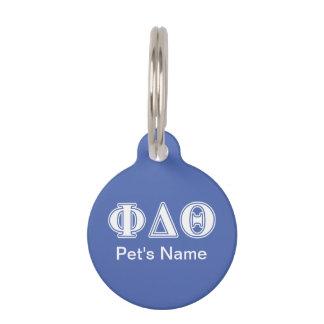 Phi-Deltatheta-Weiß-und Königsblau-Buchstaben Tiermarke