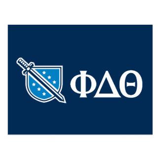 Phi-Deltatheta - weißer Grieche Lettters und Logo Postkarte
