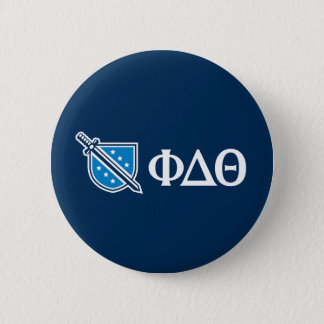 Phi-Deltatheta - weißer Grieche Lettters und Logo Runder Button 5,7 Cm