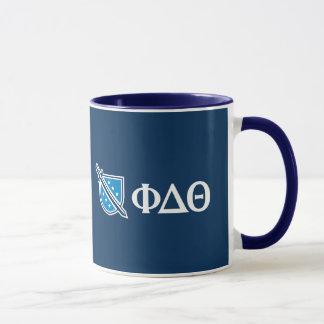 Phi-Deltatheta - weißer Grieche Lettters und Logo Tasse