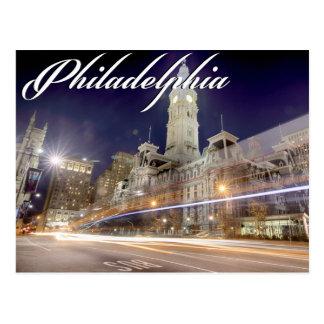 """Philadelphia-Postkarte """"Rathaus nachts """" Postkarte"""