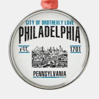 Philadelphia Rundes Silberfarbenes Ornament