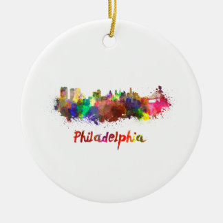 Philadelphia skyline im Watercolor Rundes Keramik Ornament