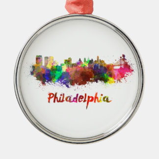 Philadelphia skyline im Watercolor Rundes Silberfarbenes Ornament