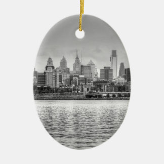 Philadelphia-Skyline in Schwarzweiss Ovales Keramik Ornament
