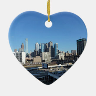 Philadelphia-Skyline Keramik Herz-Ornament
