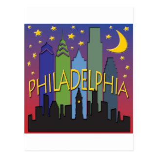 Philadelphia-Skyline-Nachtleben Postkarte