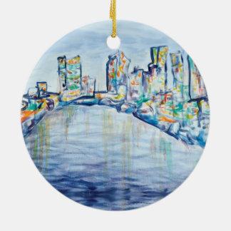 Philadelphia-Skyline-Verzierung Rundes Keramik Ornament