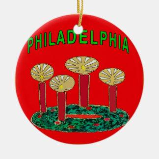 Philadelphia-Weihnachtsbaum Keramik Ornament