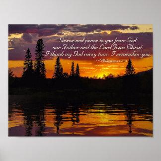 Philippians-1:2 - 3 zieren und Frieden zu Ihnen, Poster