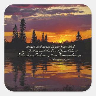 Philippians-1:2 - 3 zieren und Frieden zu Ihnen, Quadratischer Aufkleber