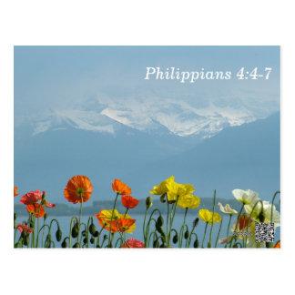Philippians-4:4 - 7 Schrifts-codierte Karte