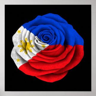 Philippinische Rosen-Flagge auf Schwarzem Poster
