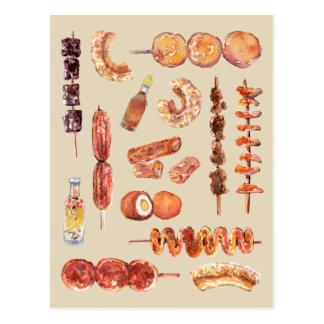 Philippinische Straßen-Nahrung im Aquarell Pinoy Postkarte