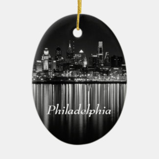 Philly Nacht b/w Ovales Keramik Ornament