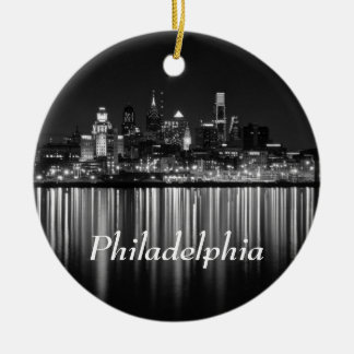 Philly Nacht b/w Rundes Keramik Ornament