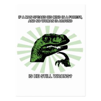 Philosoraptor Männer und Frauen Postkarte