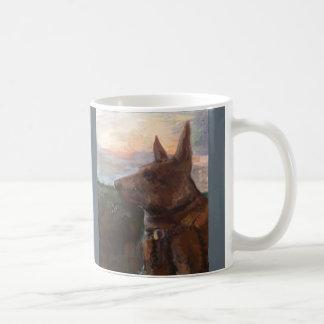 """""""Phoebe Hund im Sonnenuntergang"""" Malerei auf einer Kaffeetasse"""
