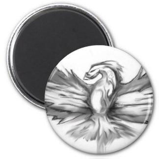 Phoenix gris magnet rond 8 cm