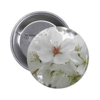 Photo blanche de fleurs de cerisier badge rond 5 cm