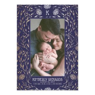 Photo de faire-part de naissance de bébé d'or et